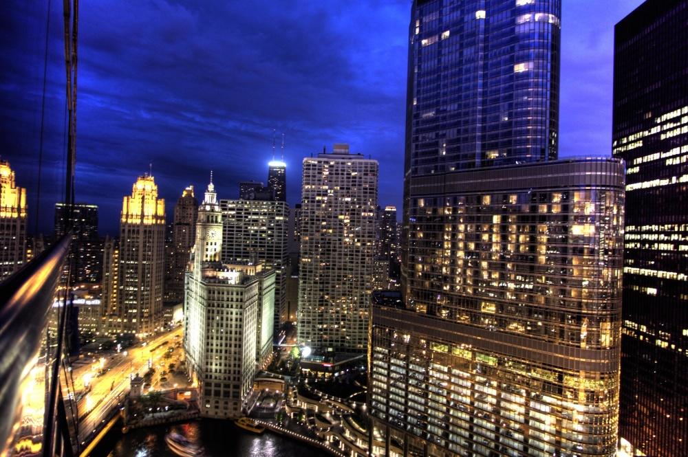 Ville, centre-ville, architecture, crépuscule, paysage urbain, affaires, nuit