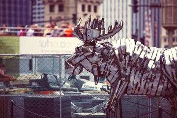 艺术, 雕塑, 金属, 铬, 钢铁, 雕像, 街道, 城市