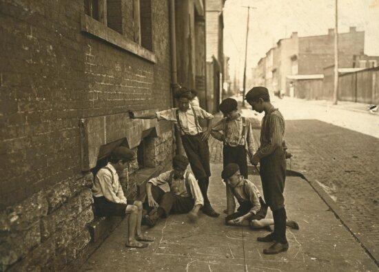 children, boy, history, town, people, monochrome