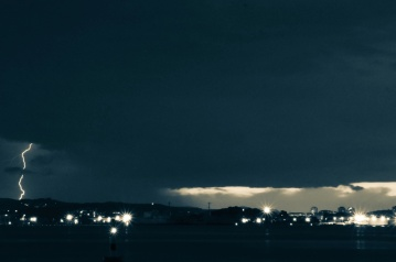 landscape, city, storm, rain, light, nature, night, dark, atmosphere