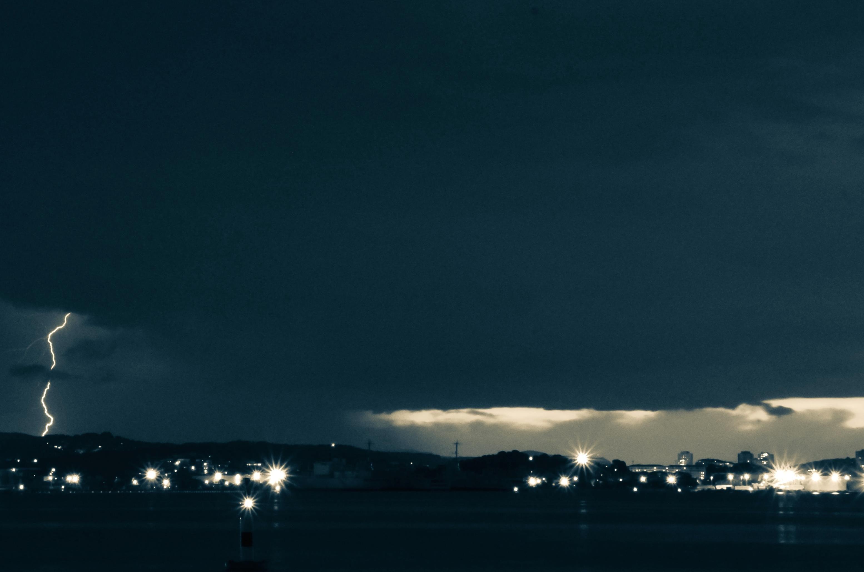 Landscape City Storm Rain Light Nature Night Dark Atmosphere