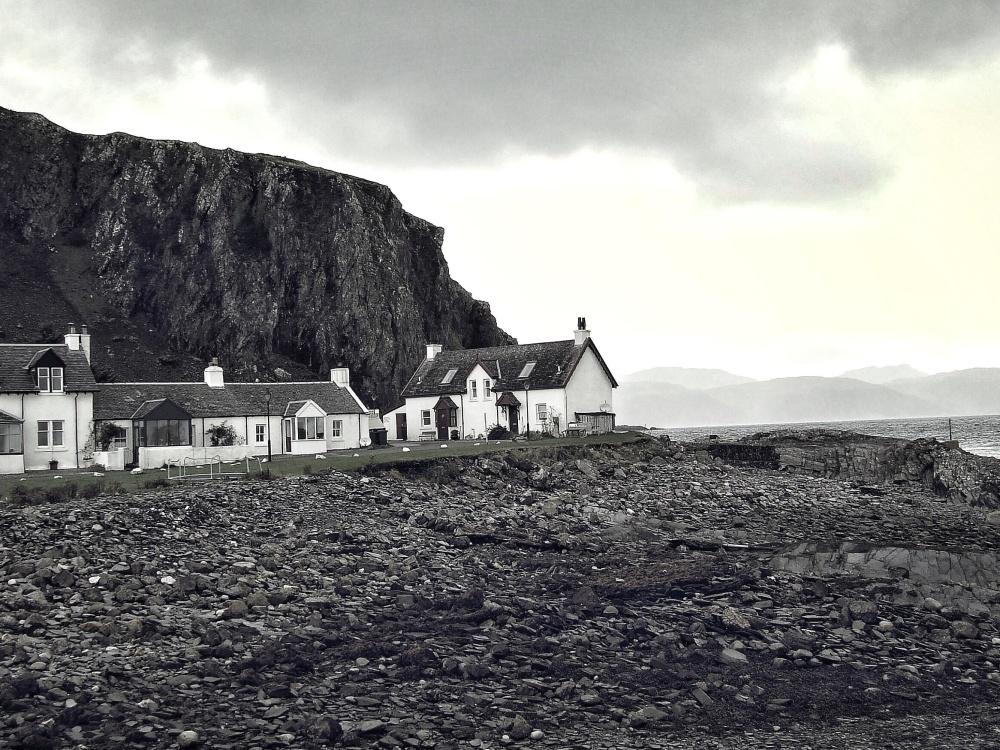 krajina, obloha, pobřeží, příroda, pláž, dům, exteriér, architektura, černobílá