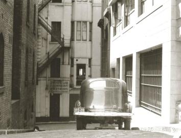 Calle, historia, coche, oldtimer, calle, asfalto, exterior, ciudad, monocromo