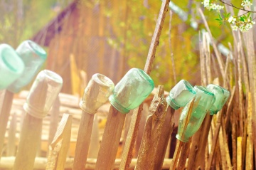 bottle, glass, object, fence, wood, nature, summer, rural