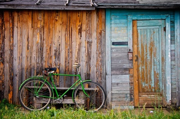 cykel, trä, dörr, trä, övergivna, hus, ladugård, gammal, rustik