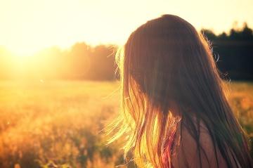 child, girl, blonde, hair, sunset, sun, nature, dawn, landscape