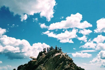mountain climbing, sky, landscape, cloud, people, crowd