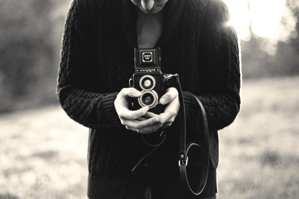 Fotograf, monochrom, leute, geschichte, fotokamera, porträt, retro