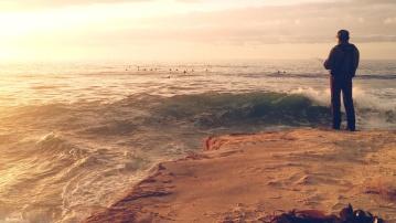 Pescatore, spiaggia, tramonto, mare, mare, acqua, paesaggio, oceano, riva, sabbia