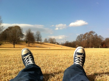 Campo, naturaleza, zapatillas de deporte, verano, moda, pantalones, tela