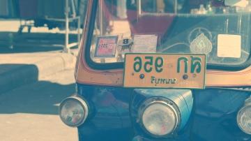 Faro, coche, vehículo, taxi, calle, India, oldtimer, retro