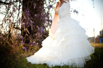 bride, dress, nature, flower, veil, pretty girl, marriage, fashion