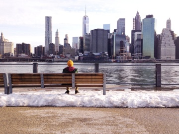 city, architecture, water, cityscape, urban, man, winter, bench, panorama