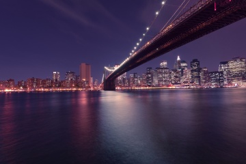 bridge, city, water, architecture, cityscape, downtown, night, river