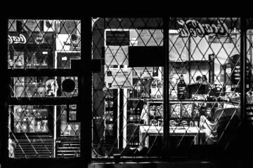 monochroom, venster, straat, exterieur, stad, stedelijk
