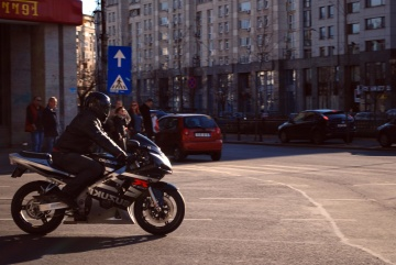 street, people, road, city, motorcycle, vehicle, moped