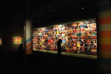 muzeum, vnitra, místnost, umění, dekorace, barevné, futuristické, silueta