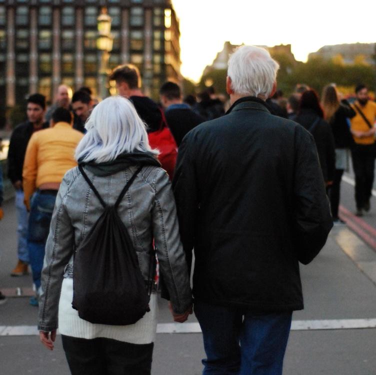 Rue, foule, ville, gens, femme, homme