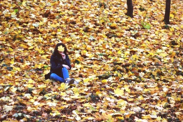 woman, girl, autumn, leaf, people, nature