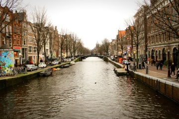 canal, city, street, urban, water, town, downtown, travel, tourist attraction