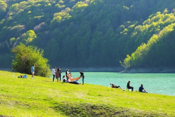 ljudi, travnjak, krajolik, rekreacija, trava, polje, zemlja, nebo, livada