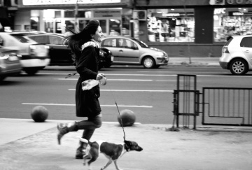 woman, dog, pet, street, people, monochrome, city, road, pavement, recreation