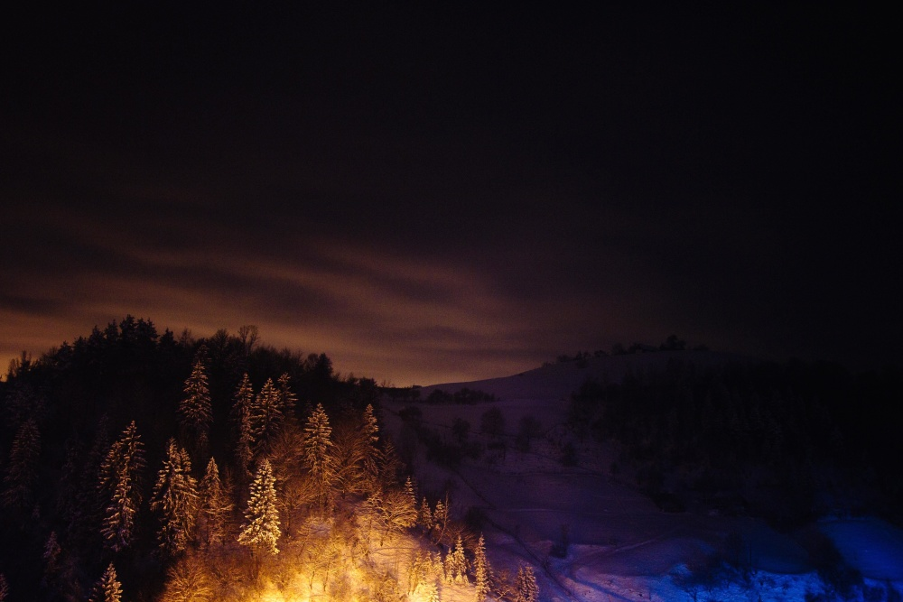 night, hill, mountain, dawn, dusk, cold, sky, snow, landscape
