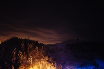 night, hill, mountain, dawn, dusk, cold, sky, snow, landscape