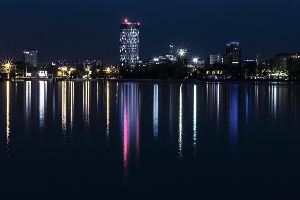 нощ, Метрополис, град, вода, отражение, архитектура, центъра, река, здрач