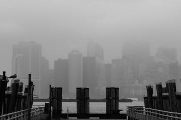 Niebla, ciudad, smog, Cityscape, céntrico, arquitectura, niebla, urbano, monocromo