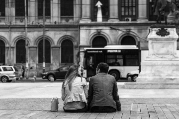 people, street, boyfriend, girlfriend, town, street, monochrome, urban