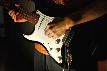 Guitariste, corde, guitare, musique, instrument, musicien, concert, performance, guitariste