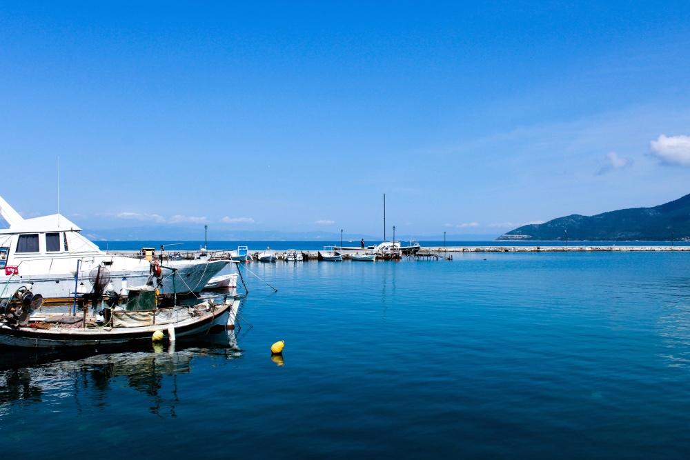 Harbor, vettä, seashore, laiva, vene, yacht, seascape, sininen taivas, kesä