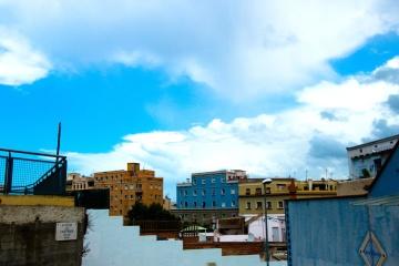 архитектура, града, синьо небе, улица, пейзаж, градски, нощ