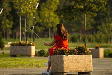 woman, brunette, posing, photo camera, park, portrait, girl, photographer, urban