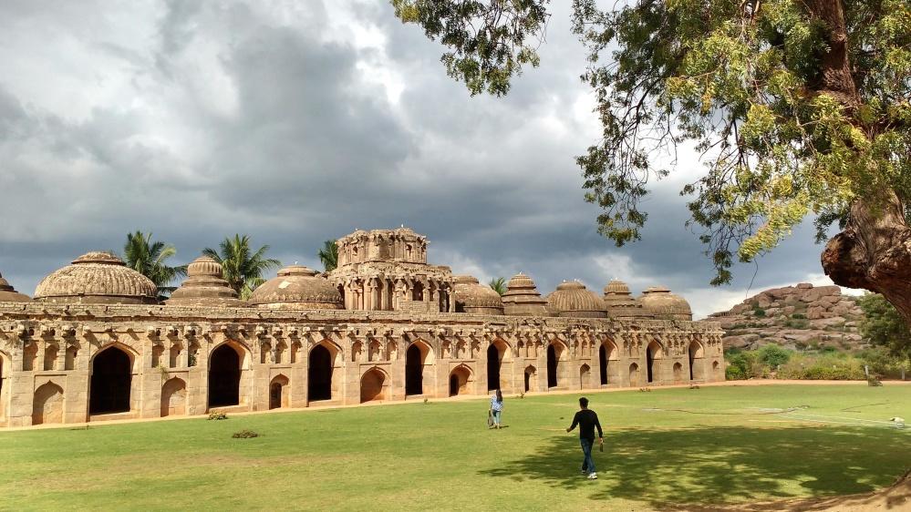 arhitectura templului, religie, vechi, gazon, exterior, copac, nor, Asia