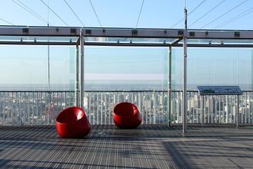 Stadt, stadt, balkon, außen, himmel, modern, futuristisch, zeitgenössisch