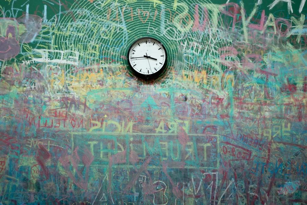 часовник, стена, графити, време, обект, изкуство, колоритен, интериор