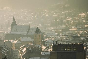 Ciudad, arquitectura, iglesia, céntrico, ciudad, frío, invierno, nieve, techo