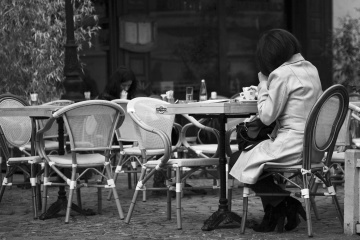 people, chair, furniture, seat, monochrome, restaurant, woman, fashion