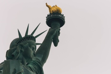 sculpture, statue, sky, monument, architecture, torch, city, liberty