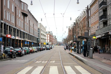 Calle, asfalto, ciudad, urbano, camino, ferrocarril, céntrico, fachada, exterior