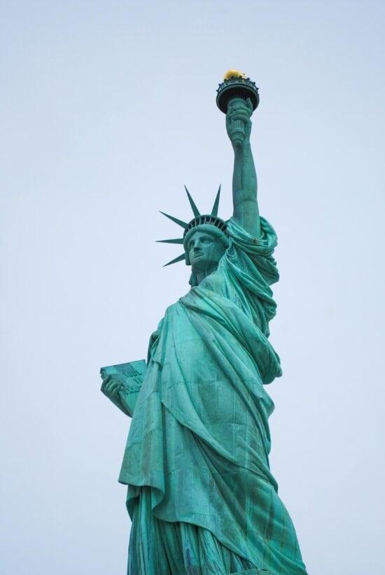 Statue, skulptur, himmel, freiheit, freiheit, kunst, fackel, architektur, stadt, bronze