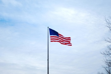 Bandera, patriotismo, viento, cielo, emblema, cielo azul, Estados Unidos