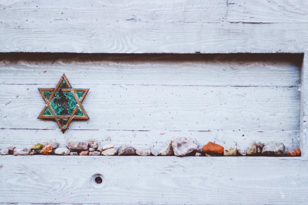 Estrella, piedra, decoración, nieve, viejo, madera, pared