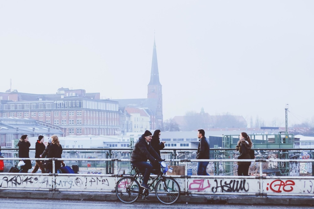 Leute, Stadt, Fahrzeug, Menge, Fahrrad, Stadt, Stadt, Straße
