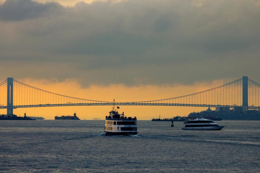 sunset, bridge, water, vehicle, sky, ship, dusk, sunset