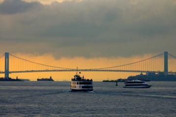 zonsondergang, brug, water, voertuig, hemel, schip, schemer, zonsondergang