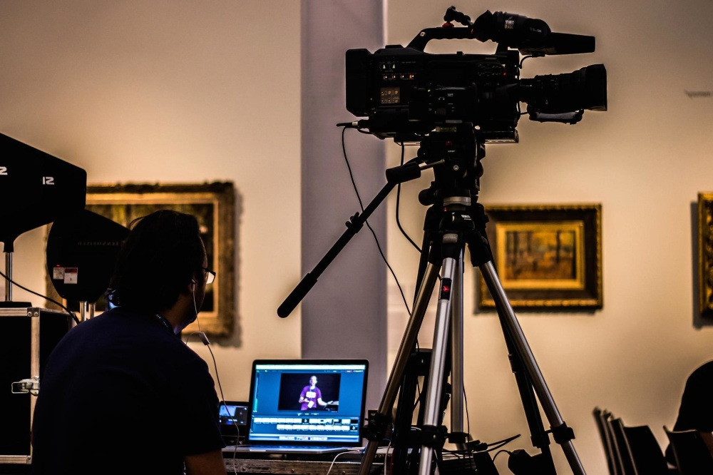 statief, film, lens, televisie, technologie, uitrusting