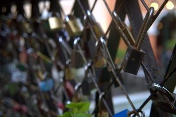régi, kerítés, biztonsági, vas, háború, acél, ipari